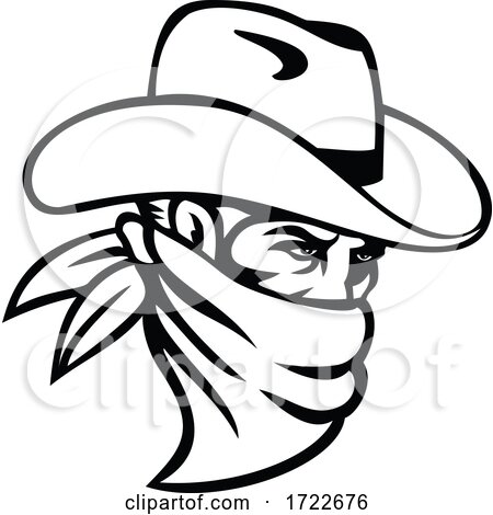 Cowboy Bandit or Outlaw Wearing Face Mask Side View Mascot Black and White by patrimonio