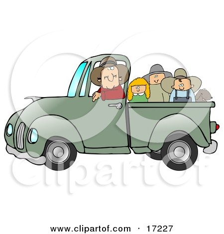 Friendly Caucasian Farmer Man Driving And Giving A Dog, A Boy, A Girl And A Man A Ride In His Truck Bed  Posters, Art Prints