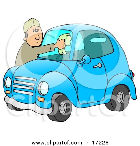 Caucasian Man Leaning Over The Hood Of His Cute Blue Compact Car To Clean The Bug Guts Off Of His Dirty Windshield While Stopped At A Gas Station  Posters, Art Prints