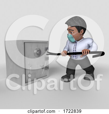 3D Business Man in Face Mask on a Shaded Background Posters, Art Prints