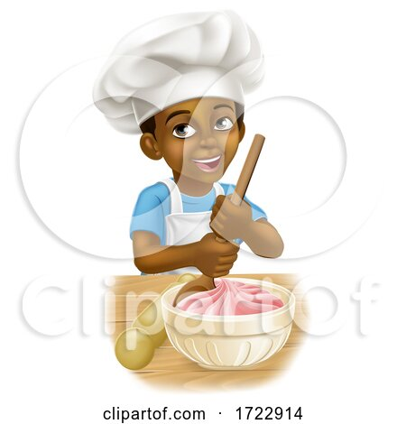 Black Boy Cartoon Child Chef Cook Baker Kid Posters, Art Prints