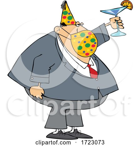 Businessman Wearing a Party Hat and Mask and Toasting by djart