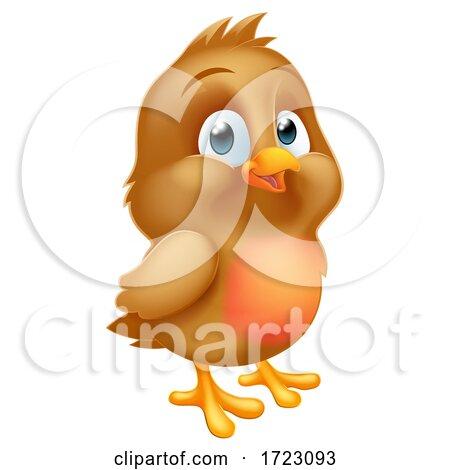 Robin Redbreast Cartoon Baby Bird by AtStockIllustration