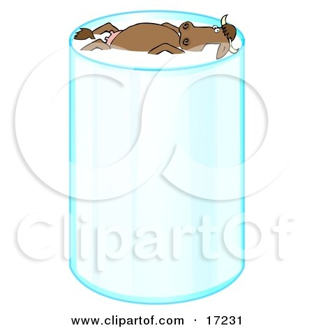 Happy Relaxed Brown Cow With Horns, Leisurely Floating And Taking A Swim In A Tall Glass Of Milk Clipart Illustration by Dennis Cox