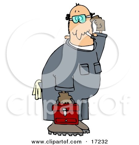Confused Male Caucasian Mechanic In Blue Coverals, Carrying A Red Toolbox And Scratching His Head Clip Art Illustration by djart