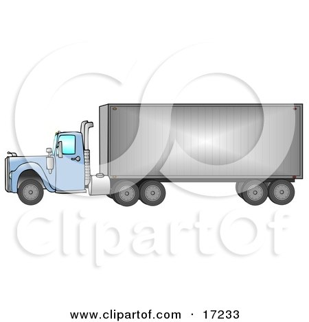 big blue 18 wheeler semi truck driving down the road from right to left clip art illustration. Black Bedroom Furniture Sets. Home Design Ideas