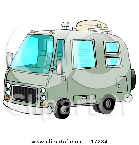 Green Rv Motorhome Ready For Camping Use Clip Art Illustration by djart