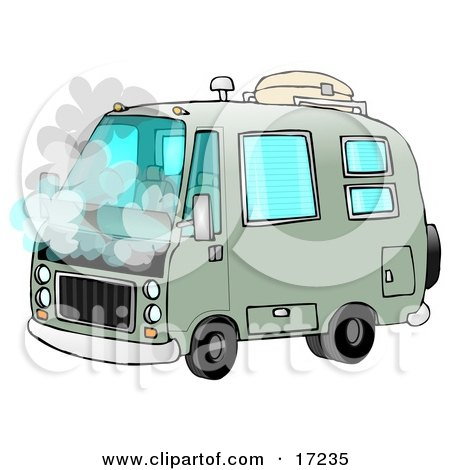 Broken Down Green Rv Motorhome Pulled Over On The Side Of The Road With Smoke Coming Out Of The Engine Compartment  Posters, Art Prints