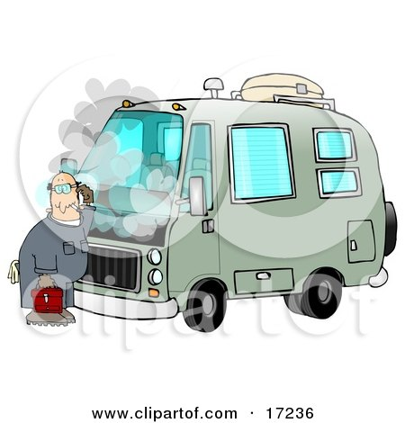 Confused Male Mechanic Scratching His Head While Standing In Front Of A Broken Down Green Rv With Smoke Rising From Under The Engine Hood  Posters, Art Prints
