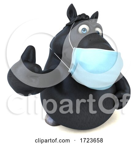 3d Black Horse Wearing a Mask, on a White Background by Julos