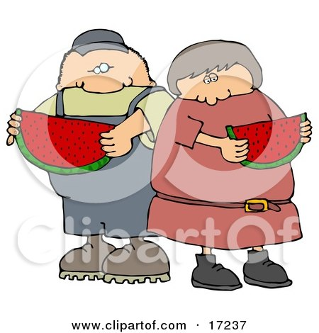 Caucasian Boy Or Man Eating A Juicy Red Slice Of Watermelon With His Sister, Friend Or Wife On A Hot Summer Day Clip Art Illustration by djart