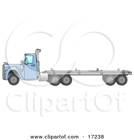 Blue Big Rig Diesel Tractor Trailer Truck With A Flat Bed, In Profile, Driving To The Left Clip Art Illustration by djart