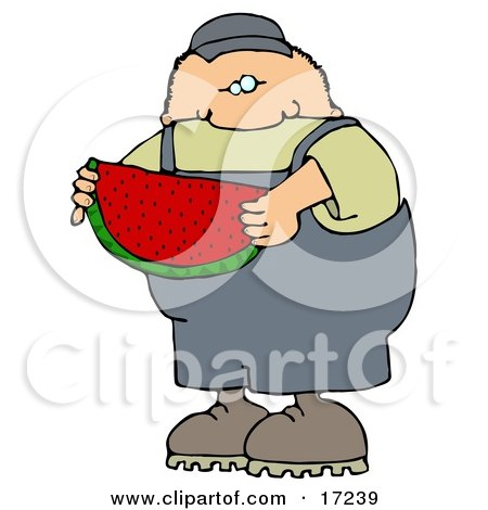 Caucasian Boy Or Man In Overalls Eating A Juicy Red Slice Of Watermelon On A Hot Summer Day  Posters, Art Prints