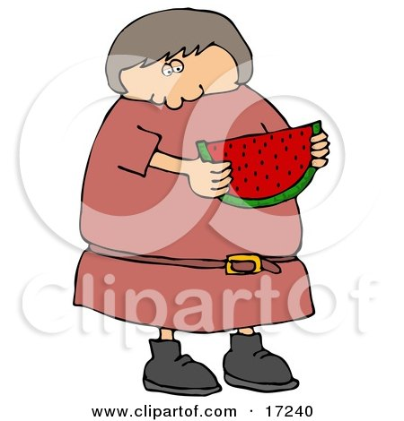 Caucasian Girl Or Woman In In Pink Dress, Eating A Juicy Red Slice Of Watermelon On A Hot Summer Day Clip Art Illustration by djart