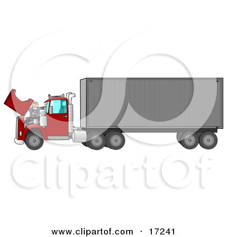 Caucasian Mechanic Man In Coveralls And A Red Hat, Working On The Engine Of A Big Red 18 Wheeler Semi Truck Clipart Illustration by djart