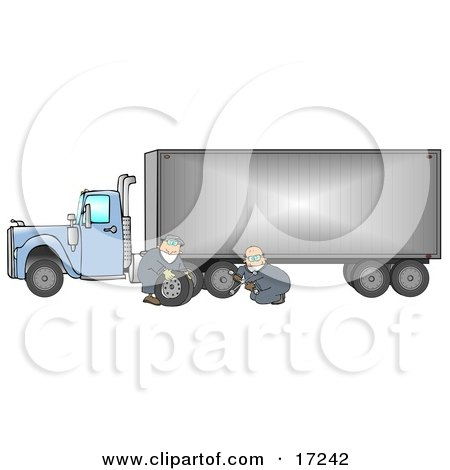 Two Caucasian Tire Changer Men In Blue Coveralls Using A Cross Bar To Replace A Flat Tire On A Big Blue 18 Wheeler Semi Truck Clipart Illustration by djart