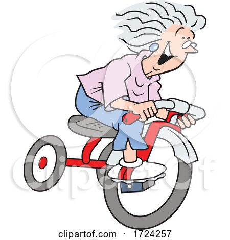 Cartoon Excited Old Lady Riding a Trike by Johnny Sajem