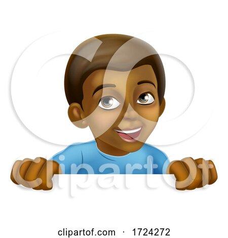 Happy Black Little Boy Cartoon Child Kid Sign Posters, Art Prints