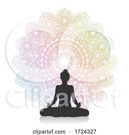 Silhouette of Female in Yoga Pose Against Mandala Design by KJ Pargeter