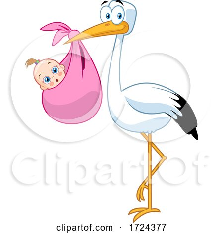 Stork with a Bundled Baby by Hit Toon