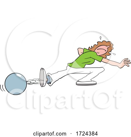 Cartoon Woman Trying to Escape from a Ball and Chain by Johnny Sajem