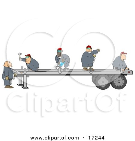 Group Of Worker Men In Blue Coveralls Using Tools To Fix Or Build A Trailer For A Big Rig Posters, Art Prints