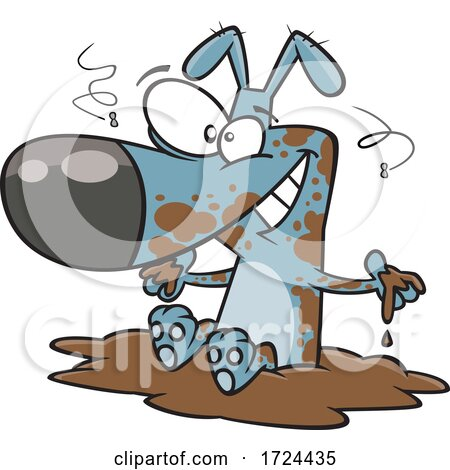 Cartoon Filthy Dog Sitting in Mud by toonaday