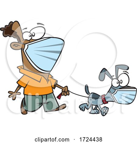 Cartoon Man and Dog Wearing Masks and Taking a Walk by toonaday