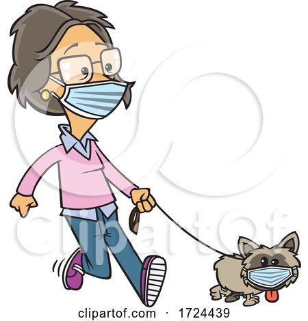 Cartoon Lady and Dog Wearing Masks and Taking a Walk by toonaday