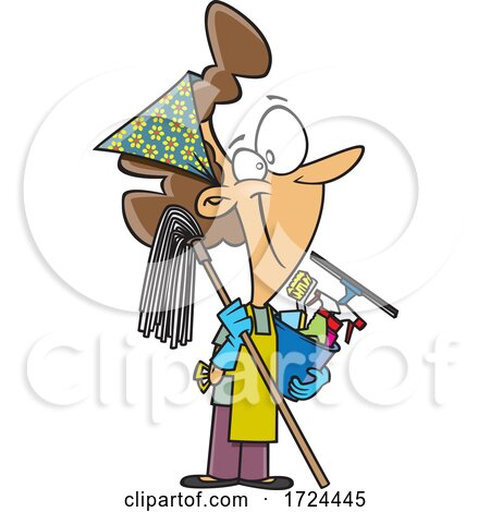 Cartoon Happy Woman Ready to Do Fall or Spring Cleaning by toonaday