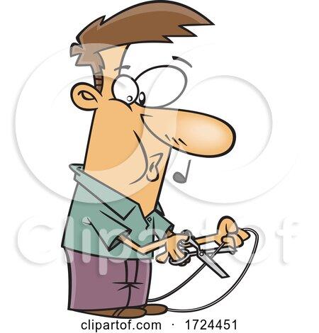 Cartoon Man Cutting a Cord by toonaday
