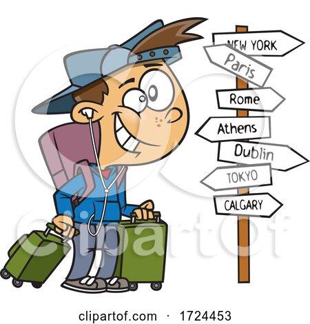 Cartoon Happy Traveling Boy by toonaday