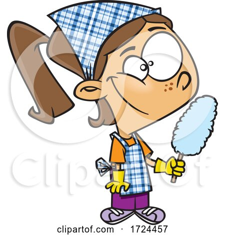 Cartoon Girl Cleaning and Holding a Duster Posters, Art Prints
