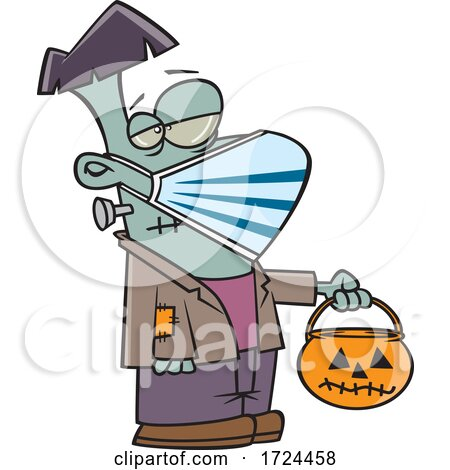 Cartoon Covid Halloween Frankenstein Wearing a Mask and Trick or Treating by toonaday