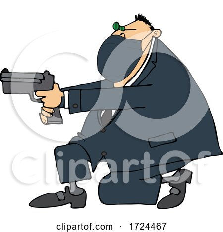 Cartoon Man Wearing a Mask Kneeling and Pointing a Gun by djart