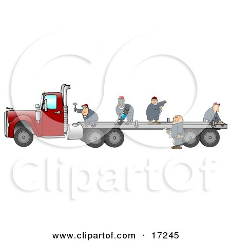 Group Of Worker Men In Blue Coveralls Using Tools To Fix Or Build A Flatbed Trailer That Is Attached To A Red Big Rig Truck Posters, Art Prints