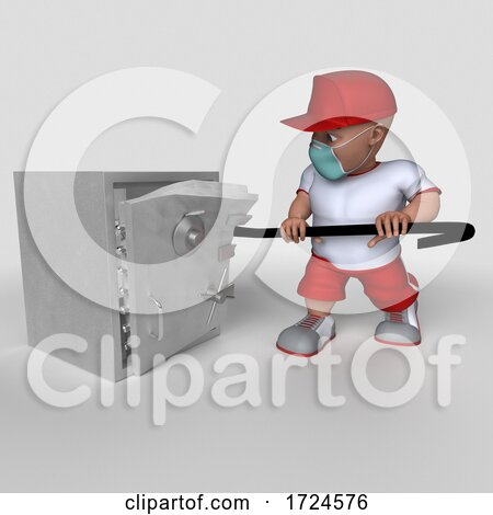 3D Sports Man Wearing a Mask, on a White Background Posters, Art Prints