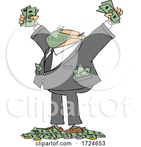 Cartoon Rich Businessman Wearing a Mask and Standing in a Pile of Money by djart