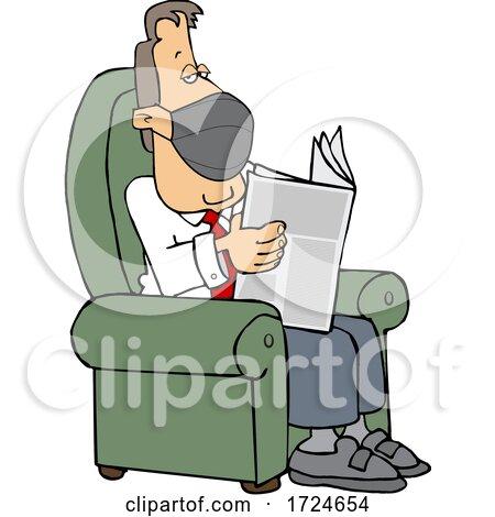 Cartoon Businessman Wearing a Mask and Reading a Newspaper by djart