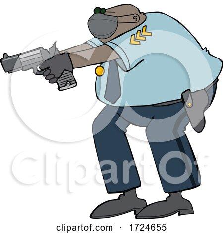 Cartoon Police Man Aiming a Gun by djart