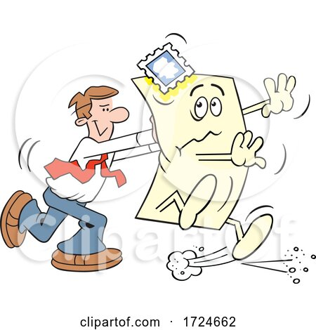 Cartoon Business Man Pushing the Envelope by Johnny Sajem