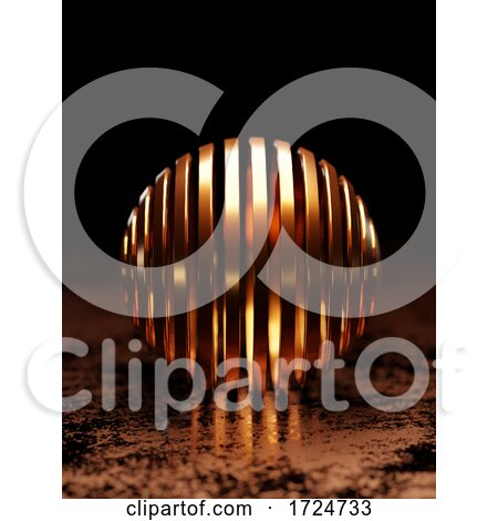 3d Copper Banded Sphere on Metallic Floor Against Black Background by Steve Young