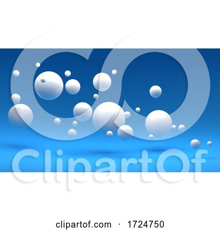 3d Blue Background with Random White Spheres Floating by Steve Young