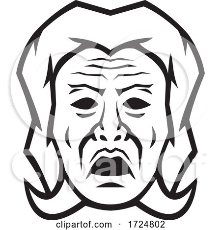 Head of Phobos Greek God of Fear Terror and Dread Front View Black and White Mascot by patrimonio