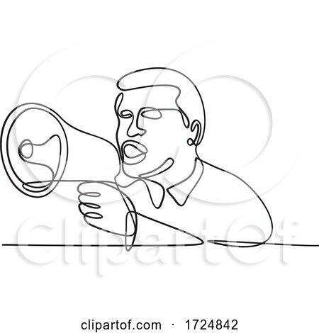 Male Activist or Protester with Bullhorn Megaphone Loudhailer or Loudspeaker Continuous Line Drawing by patrimonio