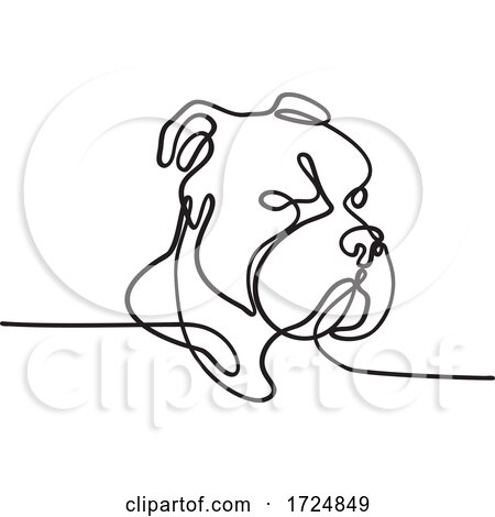 Bully Dog Breed American Pit Bull Terrier English Bulldog Bull Mastiff or Bull Terrier Continuous Line Drawing by patrimonio