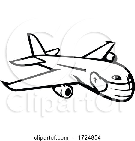 Jumbo Jet Plane Airliner Flying Wearing Face Mask Mascot Black and White by patrimonio