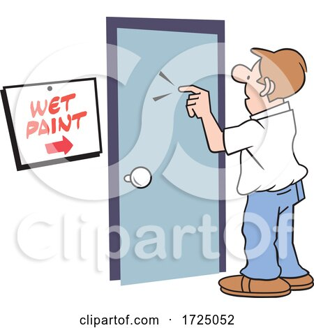 Man at a Door with a Wet Paint Sign Posters, Art Prints