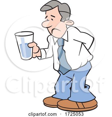 Cartoon Pessimistic Business Man Holding a Glass Half Empty by Johnny Sajem