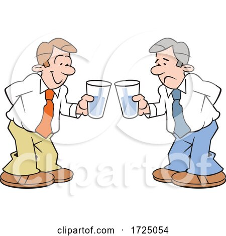 Cartoon Optimistic and Pessimistic Business Men Holding Glasses Half Full and Empty by Johnny Sajem